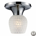 ELK Celina 1-Light Semi-Flush in Polished Chrome and White Glass With Adapter Kit EK-10152-1PC-WHT-LA