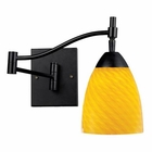 ELK Celina 1-Light Swingarm Sconce in Dark Rust and Canary Glass EK-10151-1DR-CN