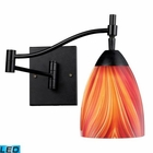 ELK Celina 1-Light Swingarm Sconce in Dark Rust and Multi Glass - Led EK-10151-1DR-M-LED