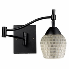 ELK Celina 1-Light Swingarm Sconce in Dark Rust and Silver Glass EK-10151-1DR-SLV
