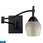 ELK Celina 1-Light Swingarm Sconce in Dark Rust and Silver Glass - Led EK-10151-1DR-SLV-LED