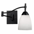 ELK Celina 1-Light Swingarm Sconce in Dark Rust and Simple White Glass EK-10151-1DR-WH