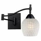 ELK Celina 1-Light Swingarm Sconce in Dark Rust and White Glass EK-10151-1DR-WHT