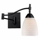 ELK Celina 1-Light Swingarm Sconce in Dark Rust and White Swirl Glass EK-10151-1DR-WS