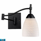 ELK Celina 1-Light Swingarm Sconce in Dark Rust and White Swirl Glass - Led EK-10151-1DR-WS-LED