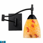 ELK Celina 1-Light Swingarm Sconce in Dark Rust and Yellow Glass - Led EK-10151-1DR-YW-LED