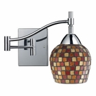 ELK Celina 1-Light Swingarm Sconce in Polished Chrom and Multi Fusion Glass EK-10151-1PC-MLT