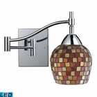 ELK Celina 1-Light Swingarm Sconce in Polished Chrom and Multi Fusion Glass - Led EK-10151-1PC-MLT-LED
