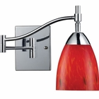 ELK Celina 1-Light Swingarm Sconce in Polished Chrome and Fire Red Glass EK-10151-1PC-FR