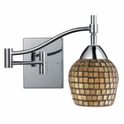 ELK Celina 1-Light Swingarm Sconce in Polished Chrome and Gold Leaf Glass EK-10151-1PC-GLD