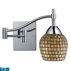 ELK Celina 1-Light Swingarm Sconce in Polished Chrome and Gold Leaf Glass - Led EK-10151-1PC-GLD-LED