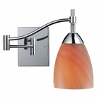 ELK Celina 1-Light Swingarm Sconce in Polished Chrome and Sandy Glass EK-10151-1PC-SY