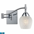ELK Celina 1-Light Swingarm Sconce in Polished Chrome and White Glass - Led EK-10151-1PC-WHT-LED
