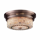 ELK Chadwick 2-Light Flush Mount in Antique Copper and Cappa Shell EK-66441-2