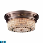 ELK Chadwick 2-Light Flush Mount in Antique Copper and Cappa Shell - Led EK-66441-2-LED