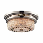 ELK Chadwick 2-Light Flush Mount in Polished Nickel and Cappa Shell EK-66411-2