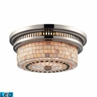 ELK Chadwick 2-Light Flush Mount in Polished Nickel and Cappa Shell - Led EK-66411-2-LED