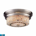 ELK Chadwick 2-Light Flush Mount in Satin Nickel and Cappa Shell - Led EK-66421-2-LED