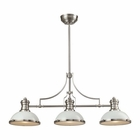 ELK Chadwick 3 Light Island in Gloss White/Satin Nickel EK-66165-3