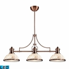 ELK Chadwick 3-Light Island Light in Antique Copper With Cappa Shell - Led EK-66445-3-LED