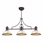 ELK Chadwick 3-Light Island Light in Oiled Bronze With Cappa Shell EK-66435-3