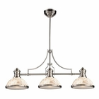 ELK Chadwick 3-Light Island Light in Satin Nickel With Cappa Shell EK-66425-3