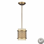 ELK Chester 1-Light Pendant in Brushed Antique Brass With Adapter Kit EK-31032-1-LA