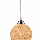 ELK Cira 1-Light Pendant in Satin Nickel and Pebbled Glass - Led EK-10143-1PW-LED