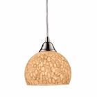 ELK Cira 1-Light Pendant in Satin Nickel and Pebbled Gray-White Glass EK-10143-1PW