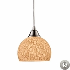 ELK Cira 1-Light Pendant in Satin Nickel and Pebbled Gray-White Glass With Adapter Kit EK-10143-1PW-LA