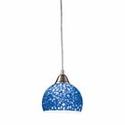 ELK Cira 1-Light Pendant in Satin Nickel With Pebbled Blue Glass EK-10143-1PB