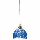 ELK Cira 1-Light Pendant in Satin Nickel With Pebbled Blue Glass - Led EK-10143-1PB-LED