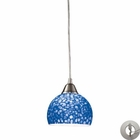 ELK Cira 1-Light Pendant in Satin Nickel With Pebbled Blue Glass With Adapter Kit EK-10143-1PB-LA