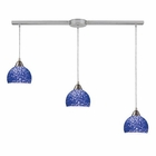 ELK Cira 3-Light Pendant in Satin Nickel and Pebbled Blue Glass EK-10143-3L-PB