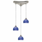 ELK Cira 3-Light Pendant in Satin Nickel and Pebbled Blue Glass EK-10143-3PB