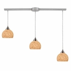 ELK Cira 3-Light Pendant in Satin Nickel and Pebbled Gray-White Glass EK-10143-3L-PW