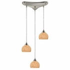 ELK Cira 3-Light Pendant in Satin Nickel and Pebbled Gray-White Glass EK-10143-3PW