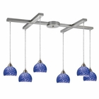 ELK Cira 6-Light Pendant in Satin Nickel and Pebbled Blue Glass EK-10143-6PB