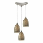 ELK Crackle 3 Light Pendant in Satin Nickel EK-31376-3