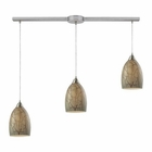 ELK Crackle 3 Light Pendant in Satin Nickel EK-31376-3L