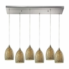ELK Crackle 6 Light Pendant in Satin Nickel EK-31376-6RC