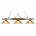 ELK Designer Classics 3-Light Billiard/Island in Wood Patina W/ Amber Gratina Glass Shades EK-194-WD-G6