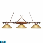 ELK Designer Classics 3-Light Billiard/Island in Wood Patina W/ Amber Gratina Glass Shades - Led EK-194-WD-G6-LED