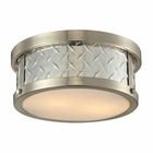 ELK Diamond Plate Collection 2 Light Flush Mount in Brushed Nickel EK-31421-2