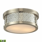 ELK Diamond Plate Collection 2 Light Flush Mount in Brushed Nickel- Led EK-31421-2-LED