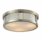 ELK Diamond Plate Collection 3 Light Flush Mount in Brushed Nickel EK-31422-3