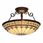ELK Diamond Ring 3-Light Semi Flush in Burnished Copper EK-641-BC