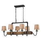 ELK Early American 6 Light Chandelier in Colonial Maple and Vintage Rust EK-14134-6