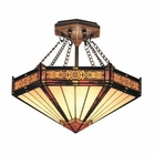 ELK Filigree 3-Light Semi Flush in Aged Bronze EK-621-AB