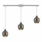 ELK Fission 3-Light Linear Silver Pendant in Satin Nickel EK-10208-3L-SLV